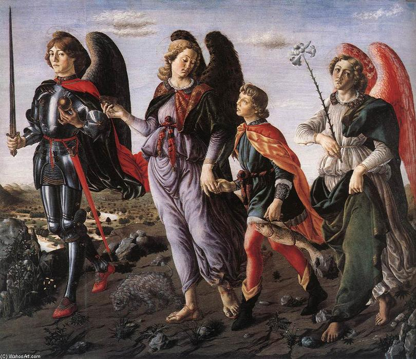 The Three Archangels with Tobias, 1470 by Francesco Di Giovanni Botticini (1446-1498) | Oil Painting | WahooArt.com