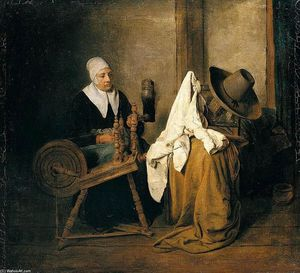 Esaias Boursse - Interior with an Old Woman at a Spinning Wheel
