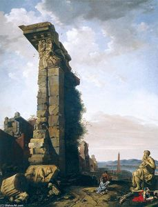 Bartholomeus Breenbergh - Idealised View with Roman Ruins, Sculptures, and a Port