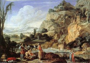 Bartholomeus Breenbergh - Landscape with the Finding of Moses