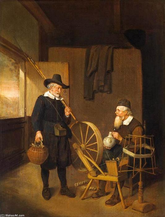 Interior, Oil On Panel by Quiringh Gerritsz Van Brekelenkam (1622-1668)