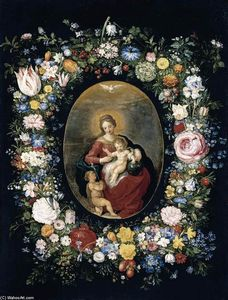 Jan The Younger Brueghel - Virgin and Child with Infant St John in a Garland of Flowers