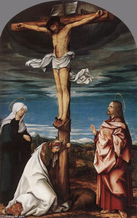 Crucifix with Mary, Mary Magdalen and St John the Evangelist, 1519 by Hans Burgkmair (1473-1531, Germany) | Museum Quality Reproductions | WahooArt.com