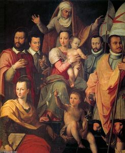 Giovanni Maria Butteri - Virgin and Child with St Anne and Members of the Medici Family as Saints