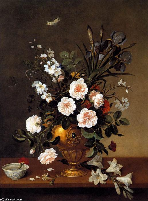 Vase of Flowers, 1663 by Pedro De Camprobín (1605-1674, Spain) | Museum Quality Reproductions | WahooArt.com