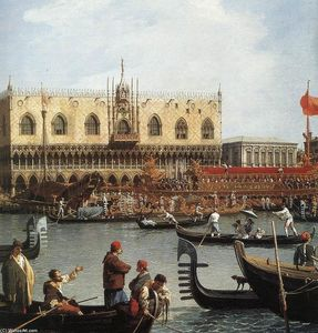 Giovanni Antonio Canal (Canaletto) - Return of the Bucentoro to the Molo on Ascension Day (detail)