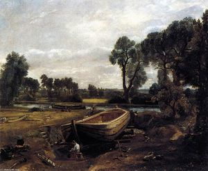 John Constable - Boat-building near Flatford Mill
