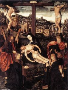 Jacob Cornelisz Van Oostsanen - Crucifixion with Donors and Saints