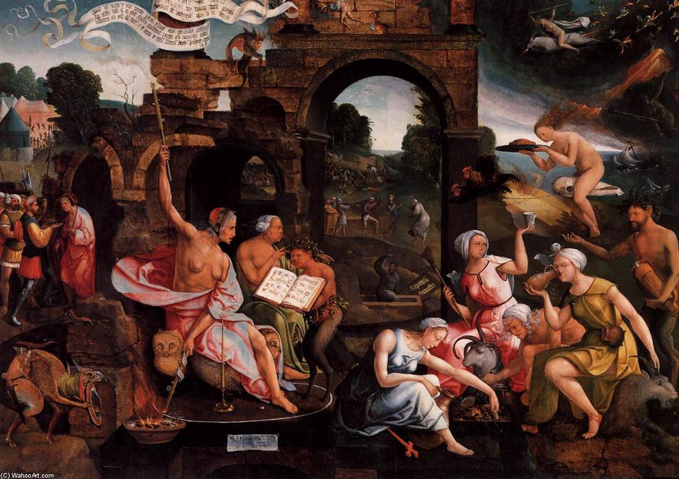 Saul and the Witch of Endor, 1526 by Jacob Cornelisz Van Oostsanen (1470-1533, Netherlands) | Paintings Reproductions Jacob Cornelisz Van Oostsanen | WahooArt.com