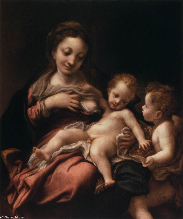 Virgin and Child with an Angel (Madonna del Latte), 1522 by Antonio Allegri Da Correggio (1489-1534, Italy) | Painting Copy | WahooArt.com