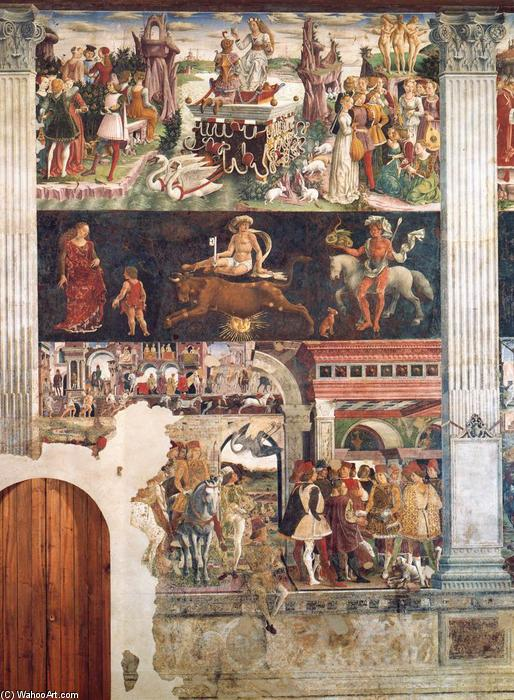 Allegory of April: Triumph of Venus, Frescoes by Francesco Del Cossa (1436-1477, Italy)