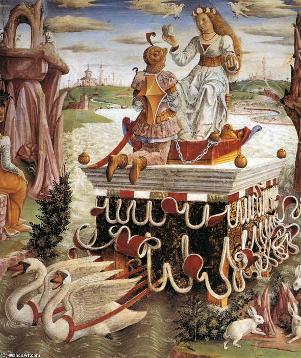 Allegory of April: Triumph of Venus (detail), Frescoes by Francesco Del Cossa (1436-1477, Italy)