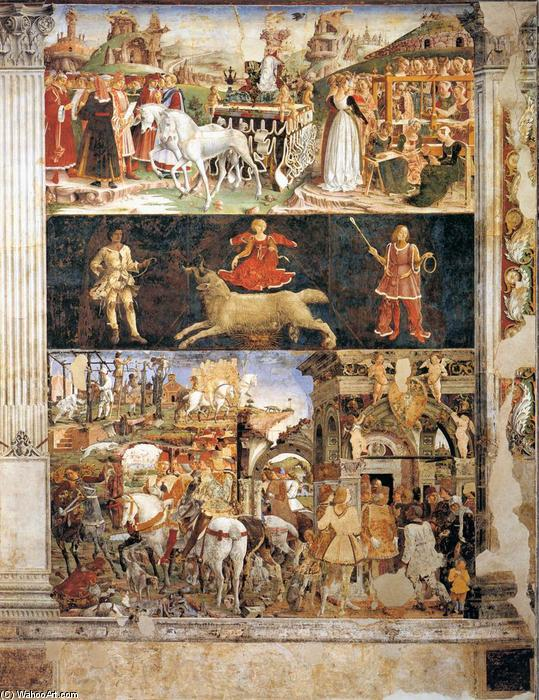 Allegory of March: Triumph of Minerva, Frescoes by Francesco Del Cossa (1436-1477, Italy)