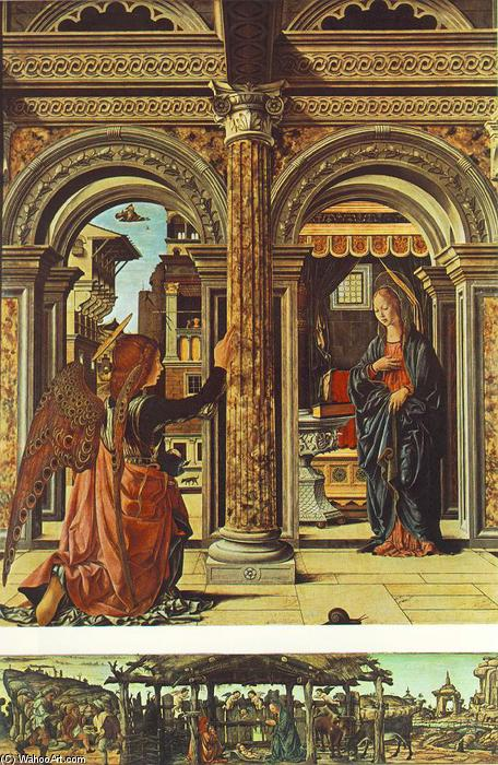 Annunciation and Nativity (Altarpiece of Observation), Tempera by Francesco Del Cossa (1436-1477, Italy)