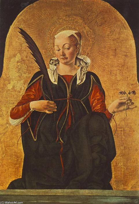 Griffoni Polyptych: St Lucy, Oil On Panel by Francesco Del Cossa (1436-1477, Italy)