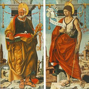 Francesco Del Cossa - Griffoni Polyptych: St Peter and St John the Baptist