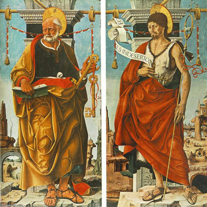Griffoni Polyptych: St Peter and St John the Baptist, 1473 by Francesco Del Cossa (1436-1477, Italy) | Painting Copy | WahooArt.com