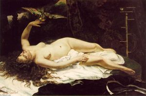 Gustave Courbet - Woman with a Parrot - (paintings reproductions)
