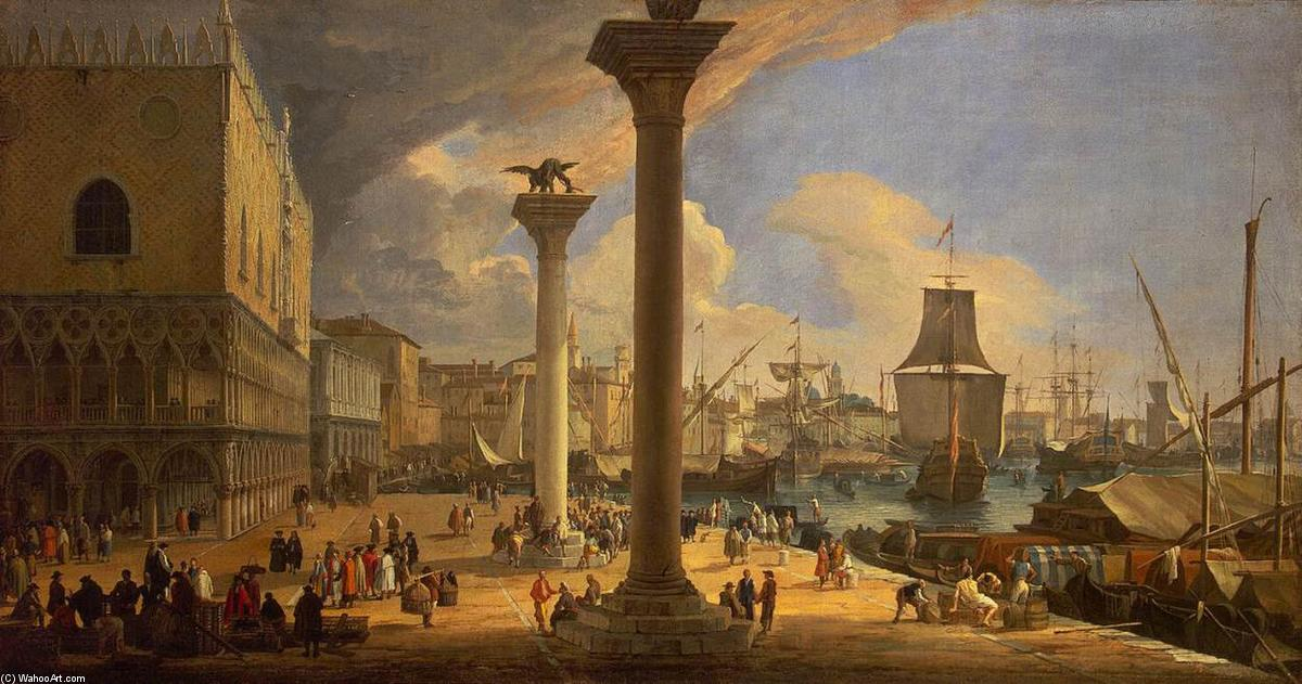 The Molo, Looking toward the Doge's Palace, Oil On Canvas by Luca Carlevaris (1663-1730, Italy)