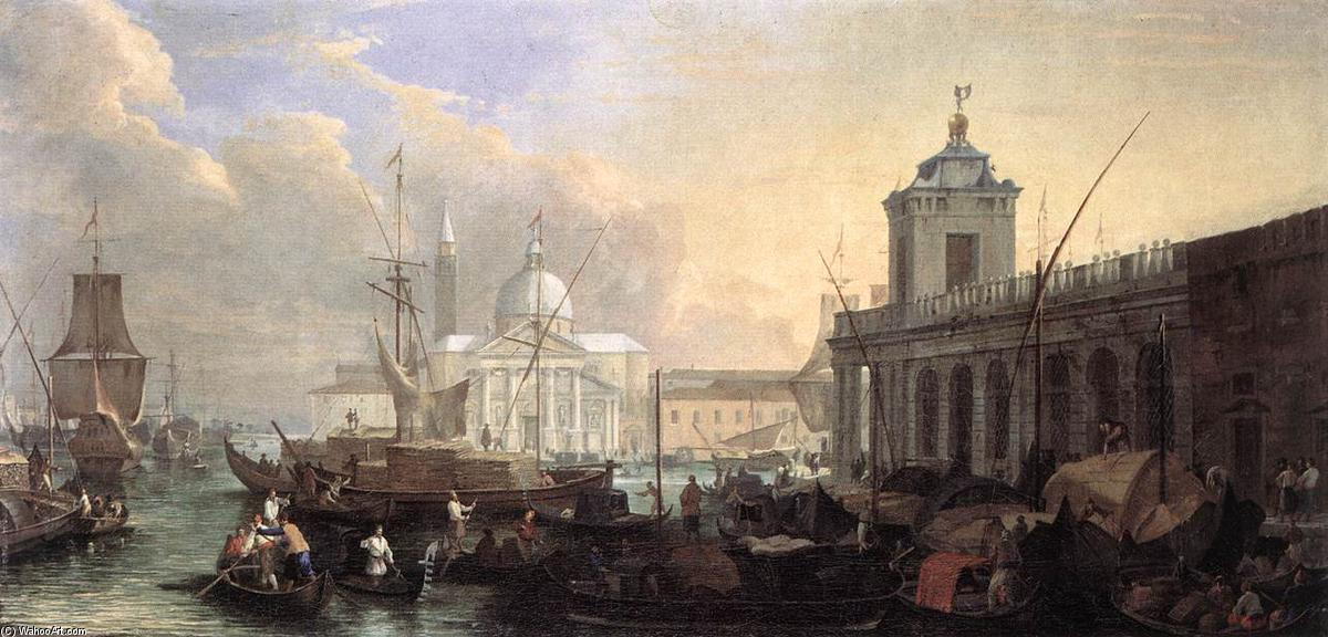 The Sea Custom House with San Giorgio Maggiore, 1700 by Luca Carlevaris (1663-1730, Italy) | Museum Quality Reproductions | WahooArt.com