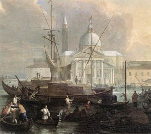 Luca Carlevaris - The Sea Custom House with San Giorgio Maggiore (detail)