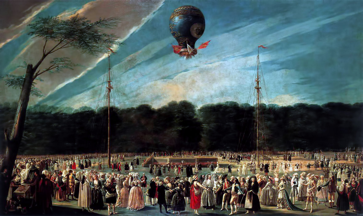 Ascent of the Monsieur Bouclé`s Montgolfier Balloon in the Gardens of Aranjuez, 1784 by Antonio Carnicero Y Mancio (1748-1814, Spain) | Museum Quality Reproductions | WahooArt.com