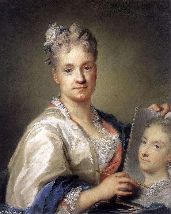 Self-Portrait Holding a Portrait of Her Sister, 1715 by Rosalba Carriera (1675-1757, Italy) | Famous Paintings Reproductions | WahooArt.com