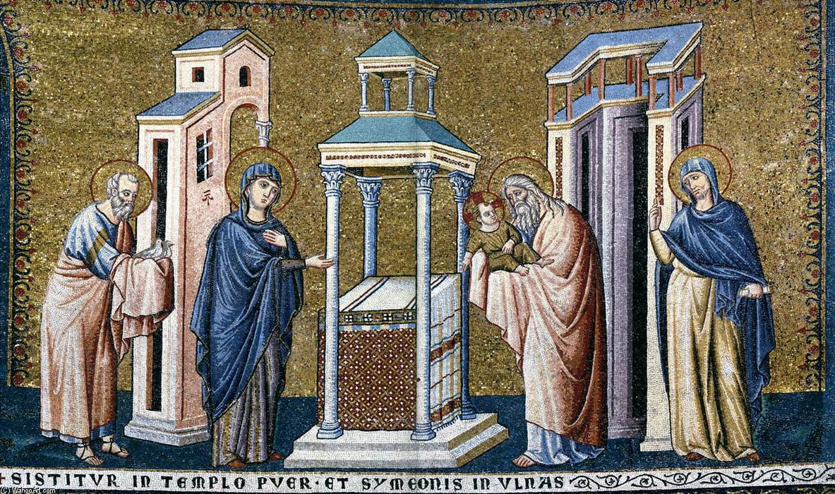 Apse: 5. Presentation in the Temple, Mosaic by Pietro Cavallini (1259-1330, Italy)