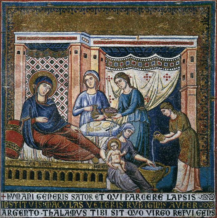 Apsidal arch: 1. Nativity of the Virgin, Mosaic by Pietro Cavallini (1240-1330, Italy)