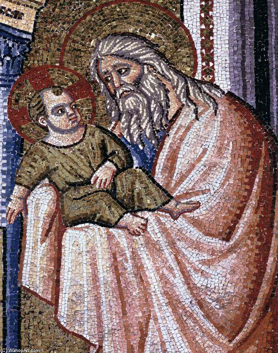 Presentation in the Temple (detail), Mosaic by Pietro Cavallini (1240-1330, Italy)