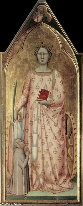 St Catherine of Alexandria with Donor and Christ Blessing, Tempera by Bernardo Daddi (1290-1348, Italy)