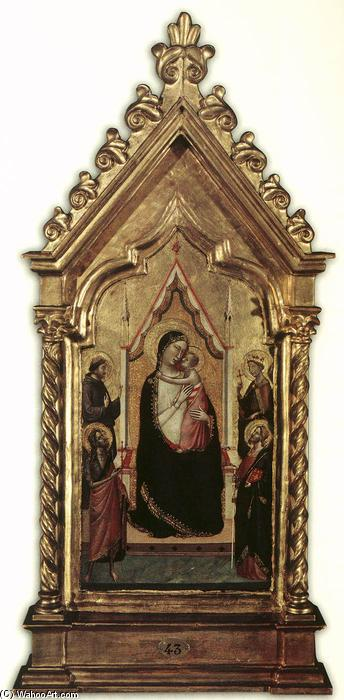 Virgin and Child Enthroned with Saints, Tempera by Bernardo Daddi (1290-1348, Italy)