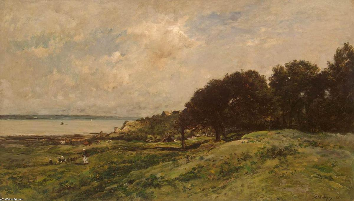 Seashore at Villerville, Oil On Canvas by Charles François Daubigny (1817-1878, France)