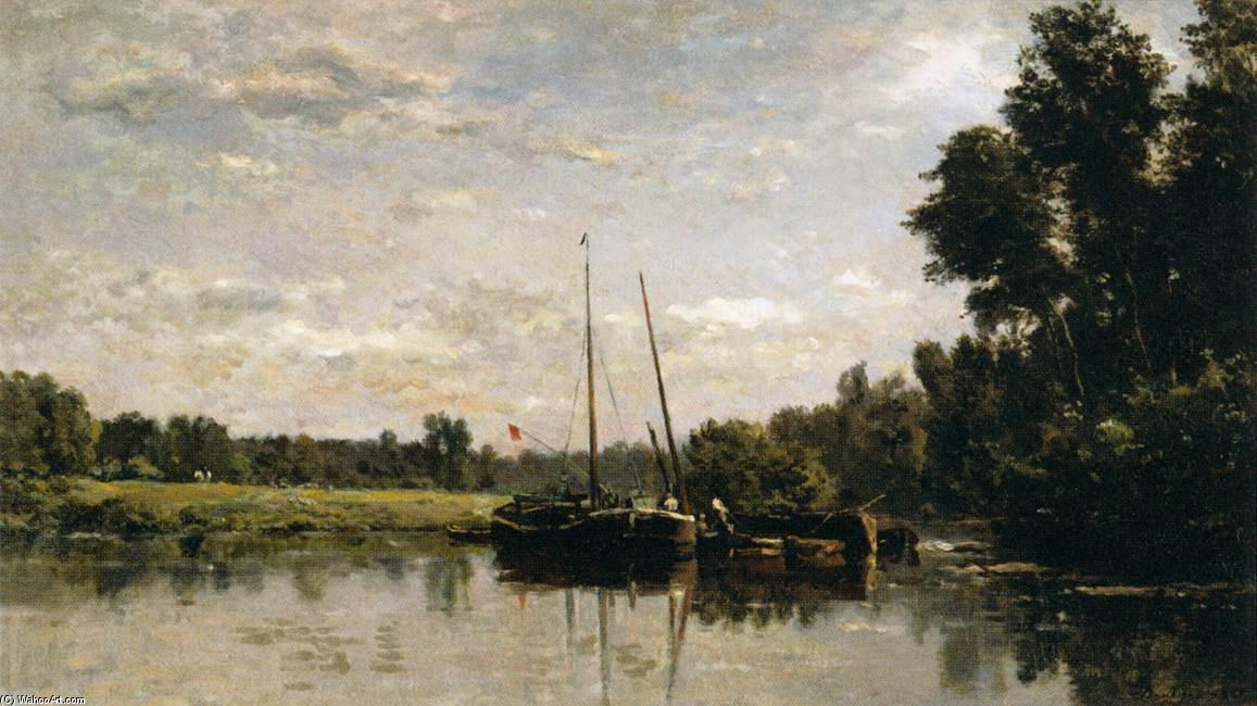 The Barges, Oil On Canvas by Charles François Daubigny (1817-1878, France)