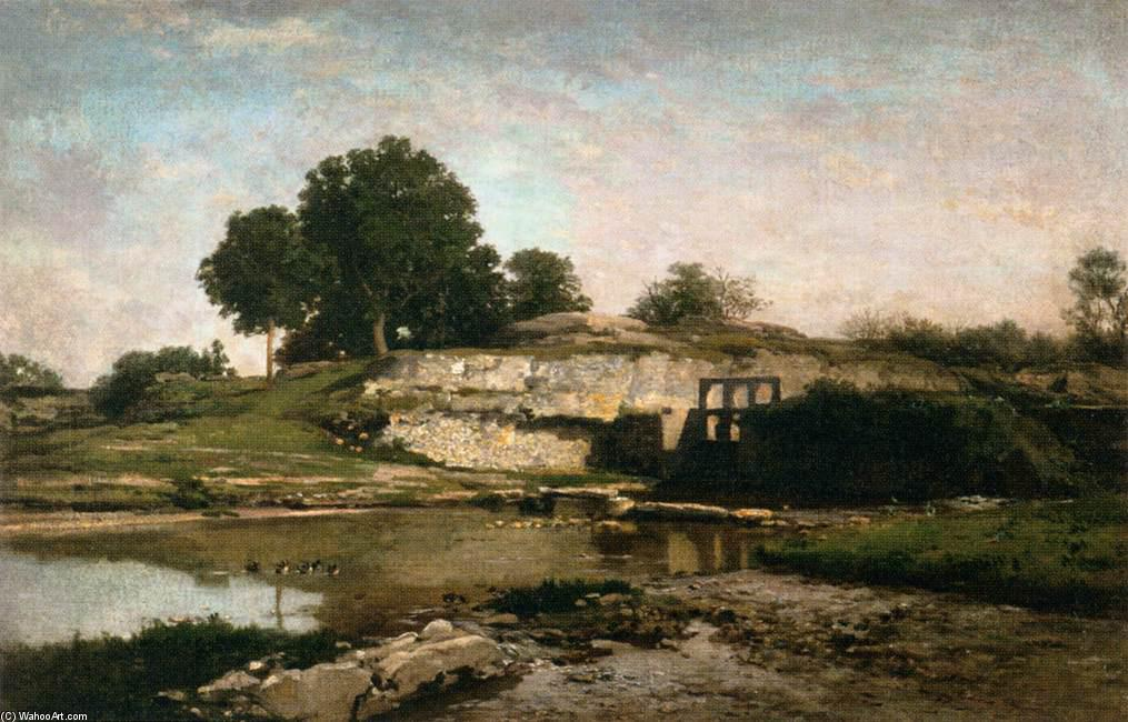 The Sluice-gate at Optevoz (Isère), Oil On Canvas by Charles François Daubigny (1817-1878, France)