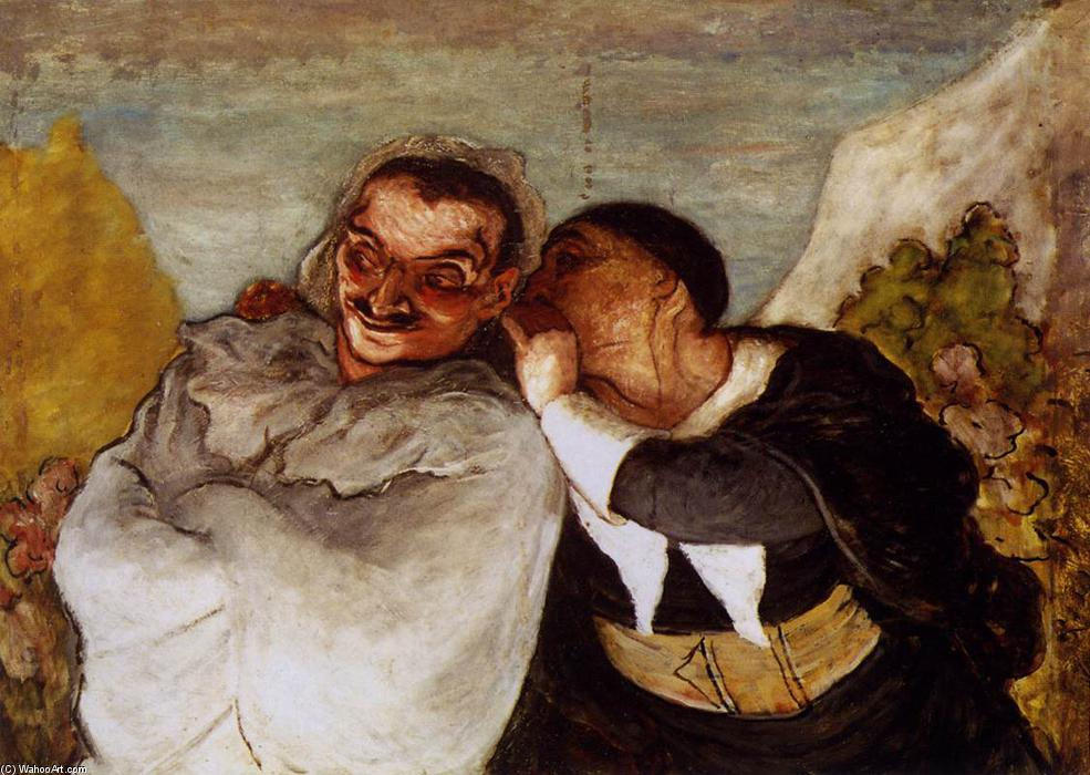Crispin and Scapin, Oil On Canvas by Honoré Daumier (1808-1879, France)