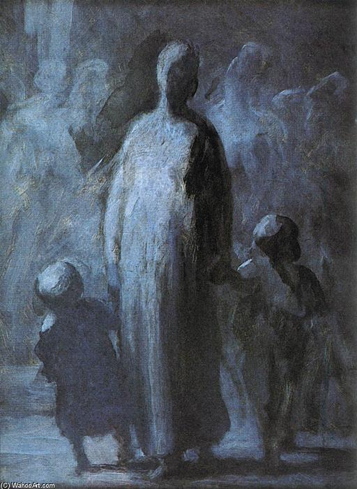 Mother, 1855 by Honoré Daumier (1808-1879, France) | Painting Copy | WahooArt.com