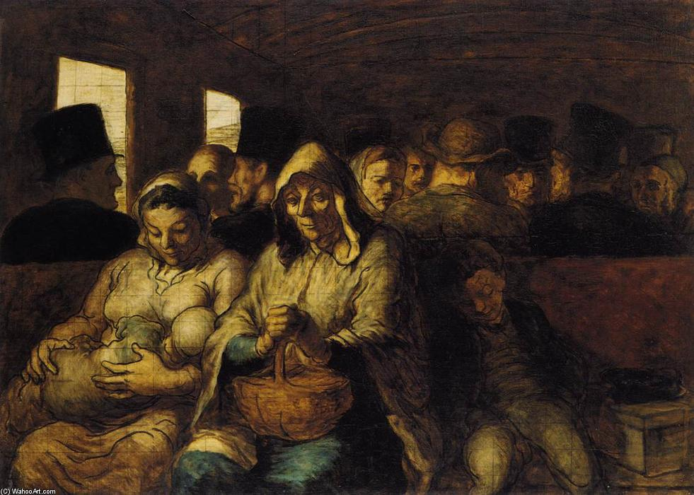 The Third-class Carriage, Oil On Canvas by Honoré Daumier (1808-1879, France)