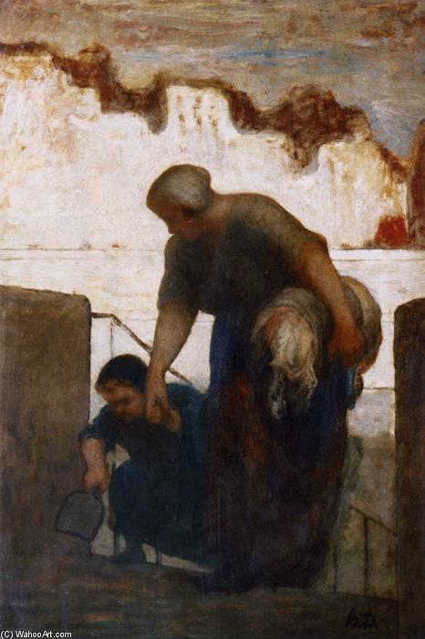 The Washerwoman, Oil by Honoré Daumier (1808-1879, France)