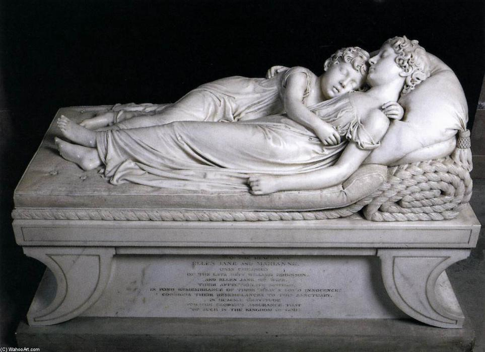 The Sleeping Children, 1817 by Francis Legatt Chantrey (1782-1841, United Kingdom) | Painting Copy | WahooArt.com