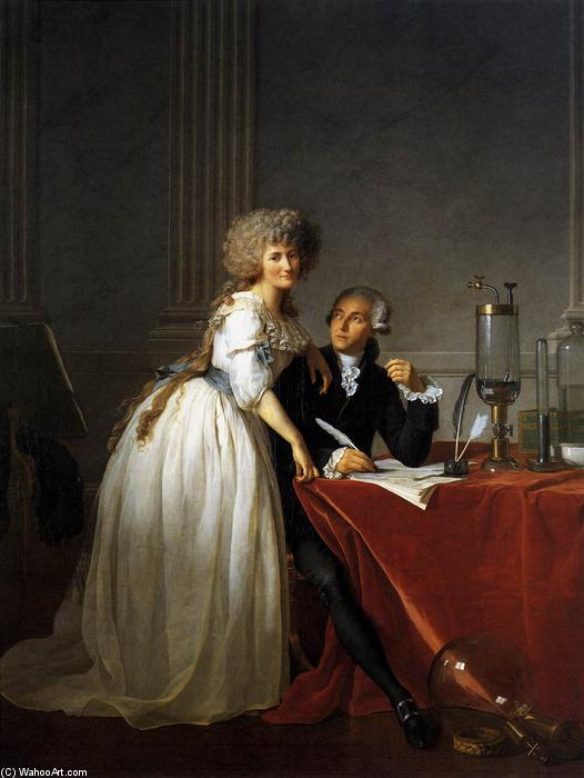 Portrait of Antoine-Laurent and Marie-Anne Lavoisier, 1788 by Jacques Louis David (1748-1800, France) | Famous Paintings Reproductions | WahooArt.com