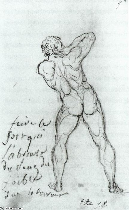 Study after Michelangelo, Chalk by Jacques Louis David (1748-1800, France)