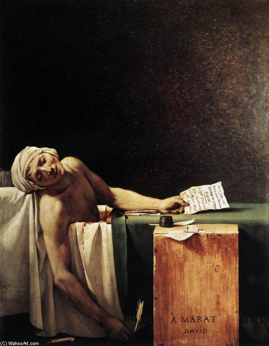 The Death of Marat, Oil On Canvas by Jacques Louis David (1748-1800, France)
