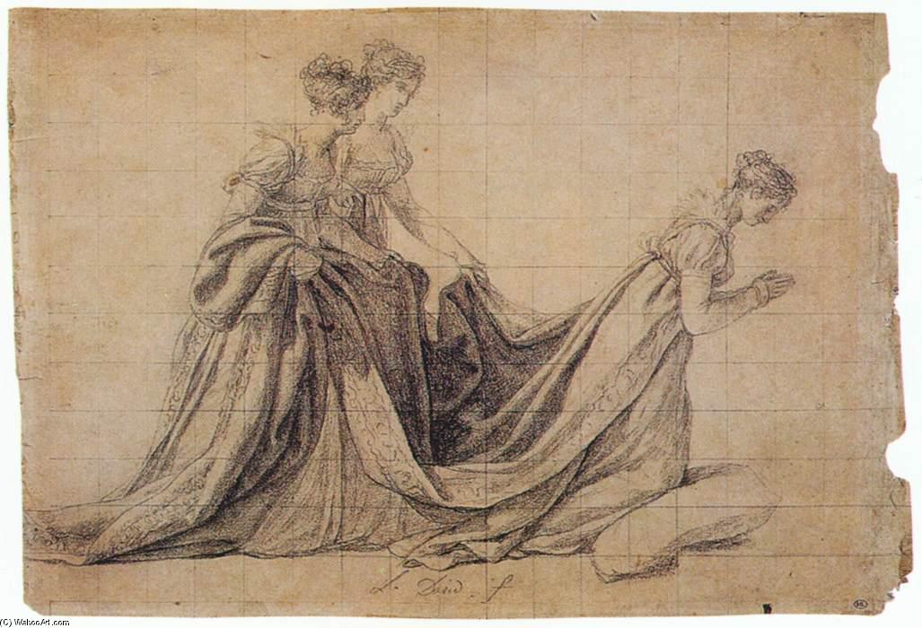 The Empress Josephine Kneeling with Mme de la Rochefoucauld and Mme de la Valette, Crayon by Jacques Louis David (1748-1800, France)