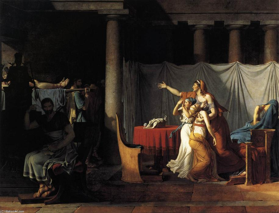 The Lictors Returning to Brutus the Bodies of his Sons, Oil On Canvas by Jacques Louis David (1748-1800, France)