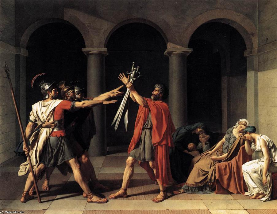 The Oath of the Horatii, Oil On Canvas by Jacques Louis David (1748-1800, France)