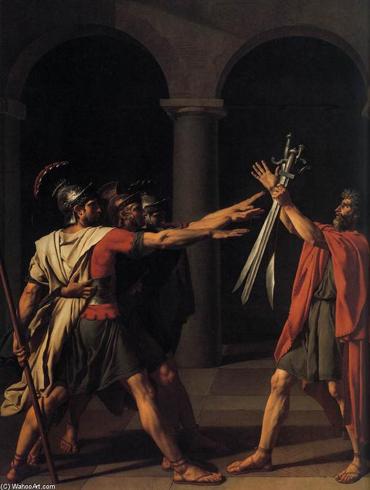 The Oath of the Horatii (detail), Oil On Canvas by Jacques Louis David (1748-1800, France)