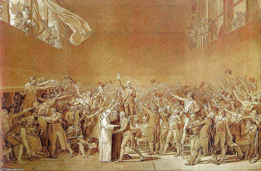 The Oath of the Tennis Court, 1791 by Jacques Louis David (1748-1800, France) | Art Reproduction | WahooArt.com
