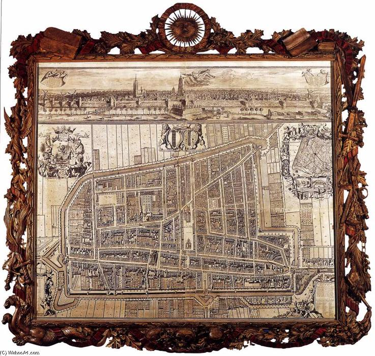 Map and Profile of Delft, 1729 by Coenraet Decker (1650-1685, Netherlands) | WahooArt.com