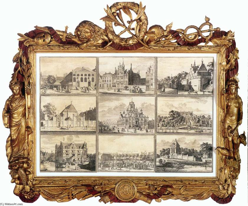 Nine Images of Public Buildings of Delft, Etching by Coenraet Decker (1650-1685, Netherlands)